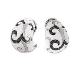 Belle Etoile Black and White Enamel Earrings