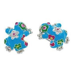 Belle Etoile Lucky Frog Blue Enamel Earrings