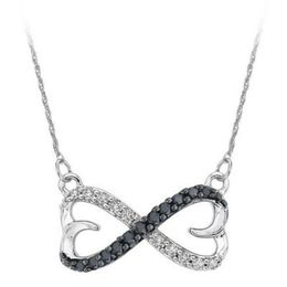 Sterling Silver Black & White Diamond Infinity Pendant