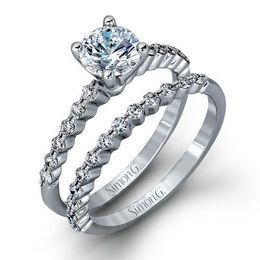 Gorgeous Simon G Engagement Ring & Wedding Band Set