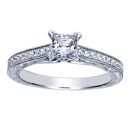 Elegant 14K White Gold Polenza Engagement Ring