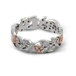Zeghani White & Rose Gold Floral Band